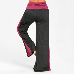 Elastic Waisted Wide Leg Pants with Color Block