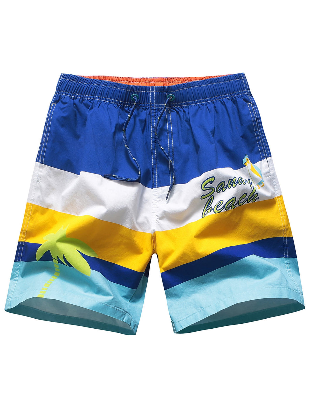 High Waist Block Board Shorts