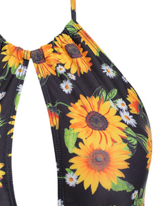 Cut Out Ruched Sunflower Swimsuit