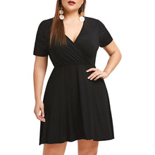 Load image into Gallery viewer, Plus Size Surplice Neck A Line Dress