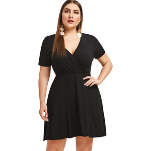 Plus Size Surplice Neck A Line Dress