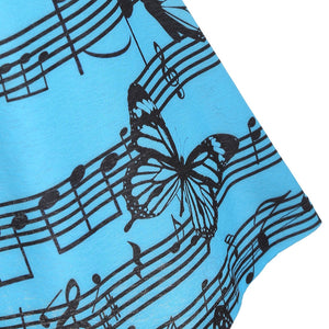Music Note Butterfly Print Bowknot Lace Tank Top