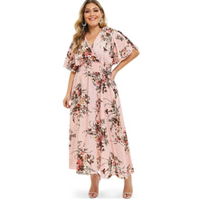 Load image into Gallery viewer, Plus Size Floral Print  Bohemian Maxi Dress for Woman