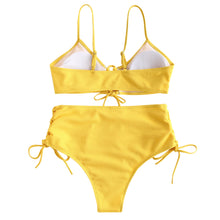 Load image into Gallery viewer, BIK 161 Laced-up Ribbed High Rise Bikini Swimsuit