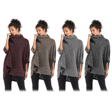 Load image into Gallery viewer, Women Cloak Coat Funnel Neck Bat Sleeve Loose Asymmetric Hem