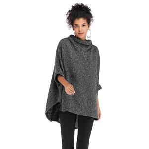 Women Cloak Coat Funnel Neck Bat Sleeve Loose Asymmetric Hem