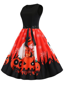 Halloween Pumpkin Spider Web Print Belted Dress