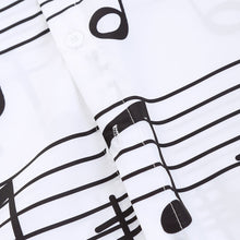 Load image into Gallery viewer, Music Notes Print Long Sleeve Button Up Festival Shirt