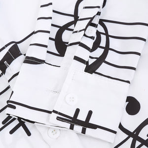 Music Notes Print Long Sleeve Button Up Festival Shirt