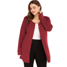 Load image into Gallery viewer, Longline Button Front Side Slit Plus Size Cardigan
