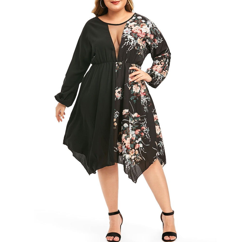 Plus Size Mesh Insert Floral Print Handkerchief Dress
