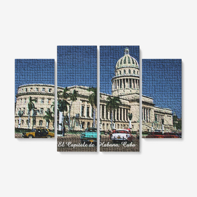 El Capitale de Cuba Mosaic 4 Piece Canvas Wall Art for Living Room - Framed Ready to Hang 4x12