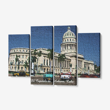 "Load image into Gallery viewer, El Capitale de Cuba Mosaic 4 Piece Canvas Wall Art for Living Room - Framed Ready to Hang 4x12""x32"