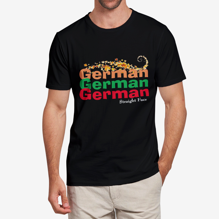 Straight Face German-American Men's Heavy Cotton Adult T-Shirt