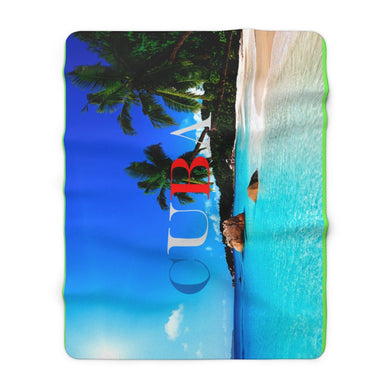 Cuba Travels Sherpa Fleece Blanket