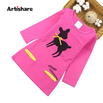Kids Girls Dress Cartoon Deer Long Sleeve Girls Clothing