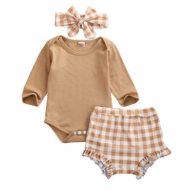 Boy Girl Clothes Jumpsuit Bodysuit Plaid Pants Headband 3PCS Set