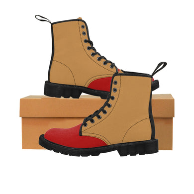 BEIGE RED Men's Canvas Boots
