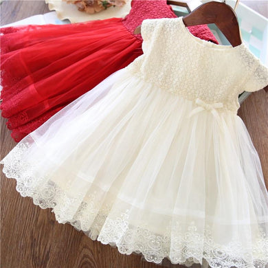 Lace Girl Party Dress  For Girls Causal Wear 2 3 5 6 7 Years White Red Vestido Robe Fille