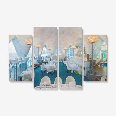 Perla San Juan 4 Piece Canvas Wall Art for Living Room - Framed Ready to Hang 4x12