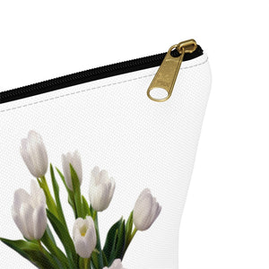 Holland White Tulips Accessory Pouch w T-bottom