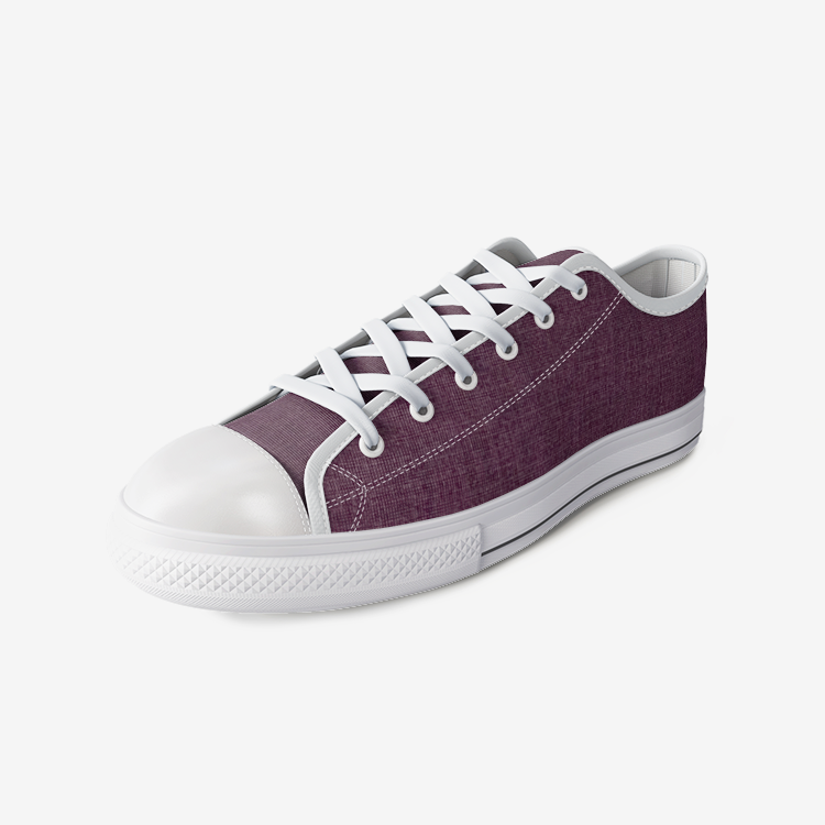 Burgundy Low Top Canvas Shoes