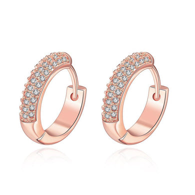 Double Row Huggie Earrings in Rose Gold