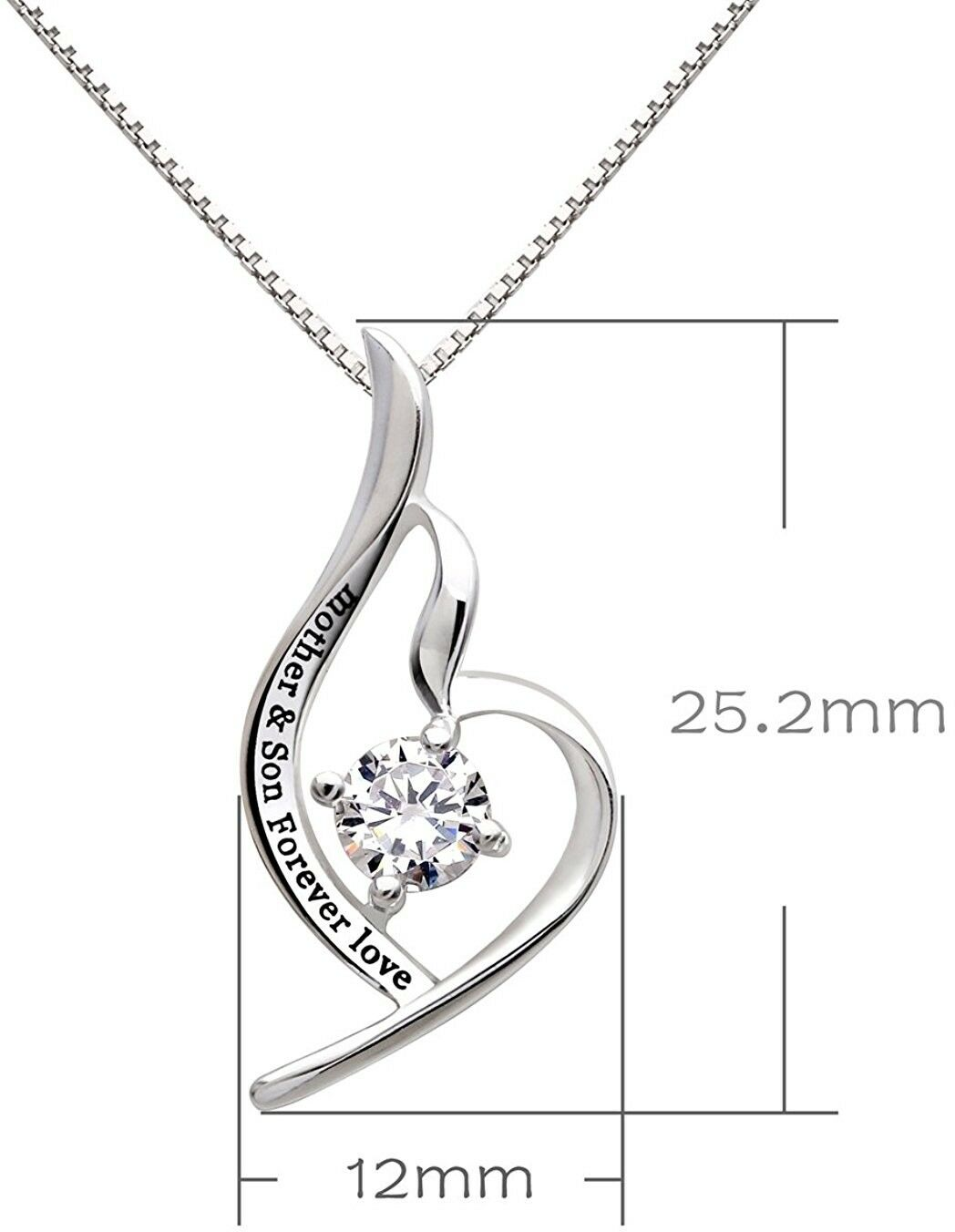 Swarovski Crystals Mother and Son Forever Love - Pave Heart  Necklace