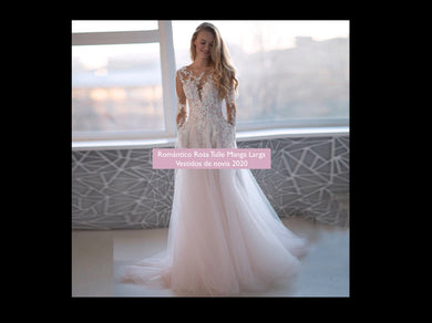 Elegant Romantic Pink Tulle Long Sleeves Wedding Dresses with Beading Lace Appliques