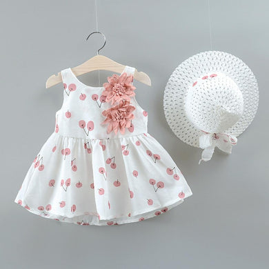 Toddler Dresses Kid Baby Girl Cherry Printed Princess Dress+Hat
