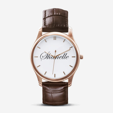 Shanelle Classic Custom Order Personalized Print Black and Brown Quartz Watch