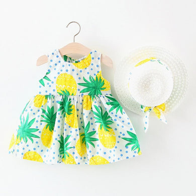 Fruit Princess Dresses Hat Casual Outfits Set vestido princesa#S20