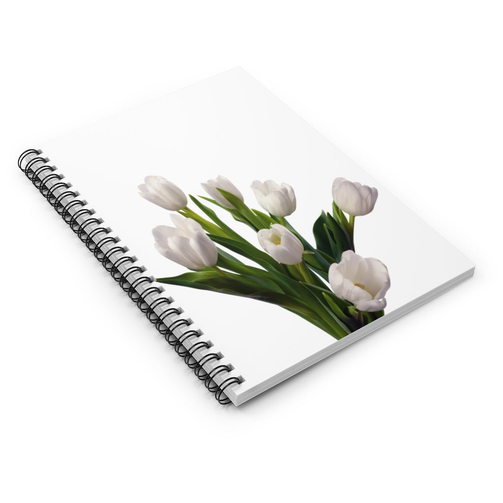 Dutch White Floral Spiral Notebook - Ruled Line