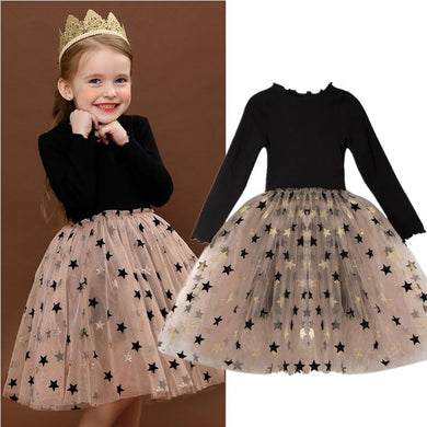 Winter Girls Princess Dress For Kids Star Print Sequin Long Sleeve Dress Birthday Wedding Party Vestido Children Autumn Clothing