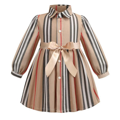 Striped Bow Children Princess Dresses Toddler Girl Clothing 2-7Years