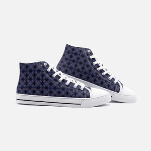 Purple Maze Unisex High Top Canvas Shoes