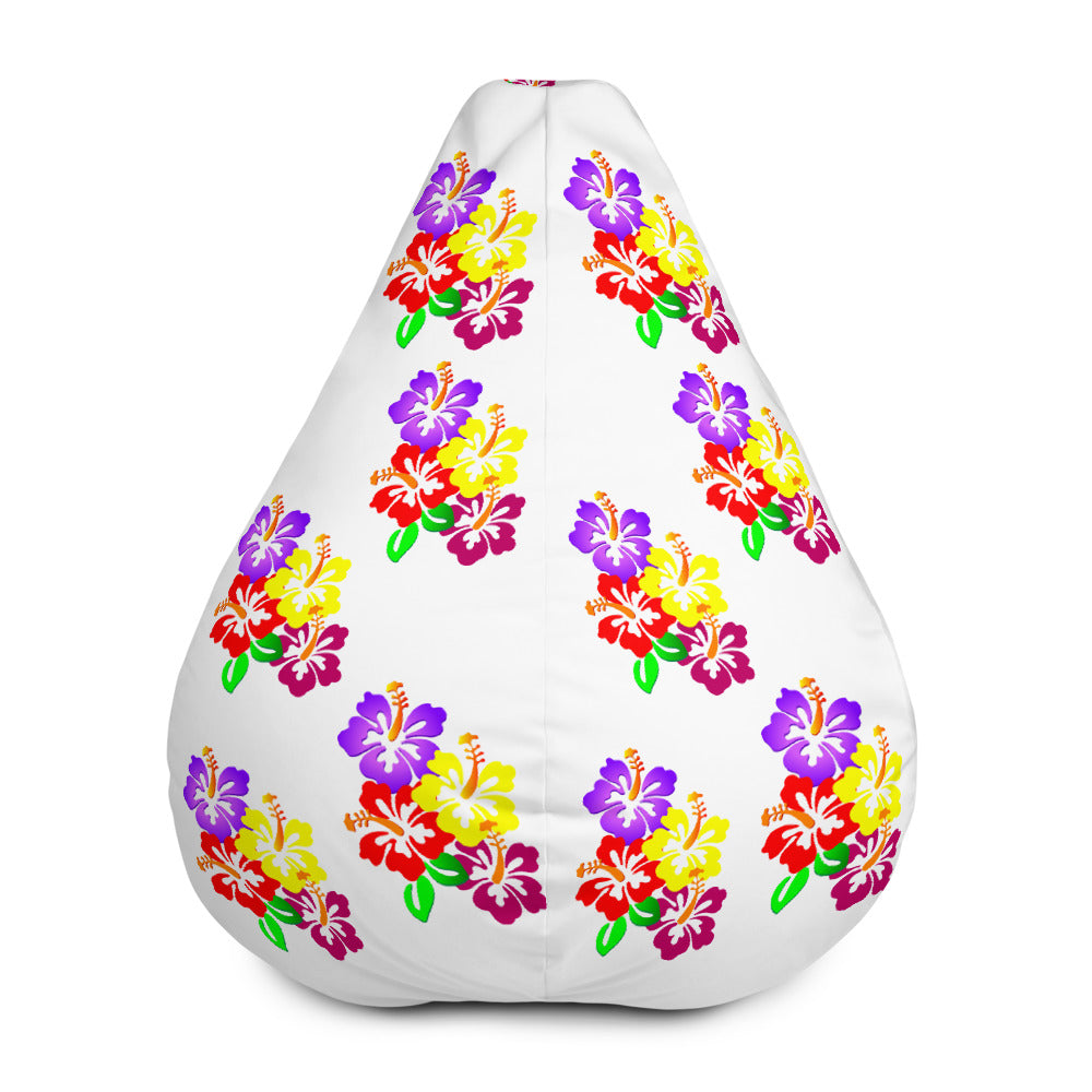 Hibiscus Floral All-Over Print Bean-Bag Chair w/ filling