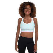 Load image into Gallery viewer, 82% polyester, 18% spandex • Sports mesh lining: 92% polyester, 8% spandex • Padding: 100% polyurethane perforated foam and 100% polyester Exercise sports bra