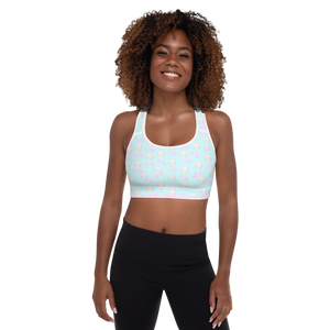82% polyester, 18% spandex • Sports mesh lining: 92% polyester, 8% spandex • Padding: 100% polyurethane perforated foam and 100% polyester Exercise sports bra