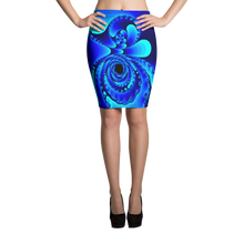 Load image into Gallery viewer, GEO 672 Blue October Pencil Skirt