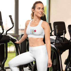 white exercise sports bra