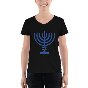 Happy Hanukkah Women's Casual V-Neck Shirt