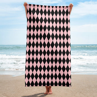 Black and Pink Beach Towel