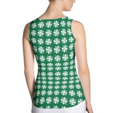 Load image into Gallery viewer, Green Snowflakes Tank Top