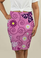 Load image into Gallery viewer, Pencil Skirt with Pink Floral Pattern