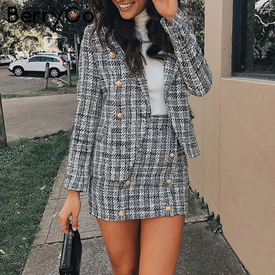 Imported Two-piece english tea plaid tweed women blazer suit