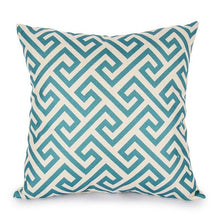 Load image into Gallery viewer, Topfinel Geometric Cushion Covers Quatrefoil Teal Turquoise Linen Throw Pillow Case Bed Decorative Throw Pillows Sofa Canvas