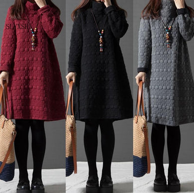 Stylish Turtleneck Swing Dresses
