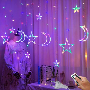 3.5M 220V LED Moon Star Lamp Christmas Garland String lights
