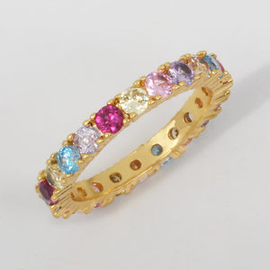 Good Quality Sterling Silver 925 thin line micro pave cz eternity stack 14 gold rainbow